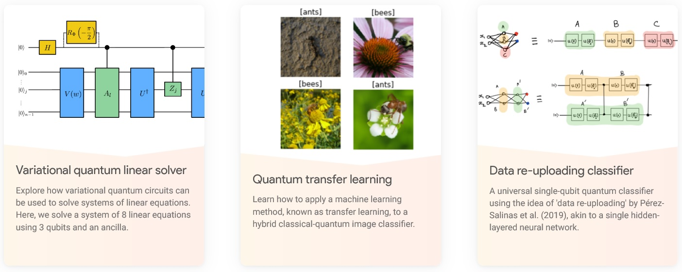 Some featured examples of quantum machine learning from the PennyLane website.